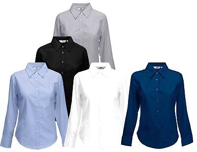 Fruit Of The Loom Ladies Lady-Fit Oxford Buttons Cadat collar Shirts & Blouses
