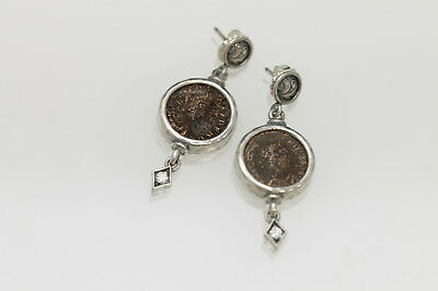 Sterling Silver Earrings, CZ with Authentic Roman Bronze Coins w/Cert. - 014
