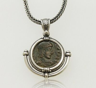 Sterling Silver Necklace with a Genuine Ancient Roman Bronze Coin. w/Cert -005