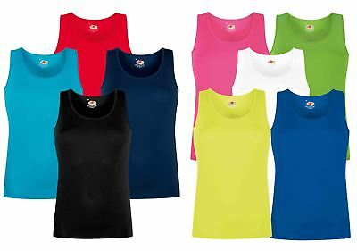 Fruit Of The Loom Ladies Performance Plain Rounded Neck Vests, Camisoles