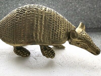 Vintage Large SOLID BRASS ARMADILLO! 1960s-1970s? GREAT PAPERWEIGHT!