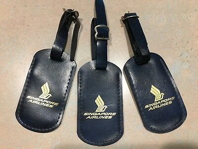 Set of 3 vintage Singapore Airlines luggage baggage tags with buckle from 1970s