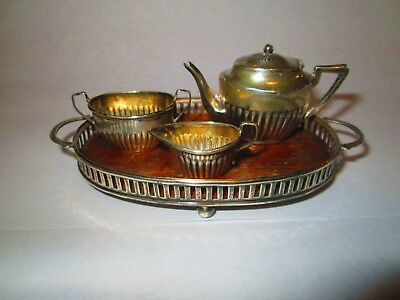 Antique English 4 piece Miniature Sterling Tea Set With Sterling & Wood Tray