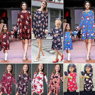 Women Christmas Family Costume Mother Outfit Girl Print Xmas Swing Dress Clothes