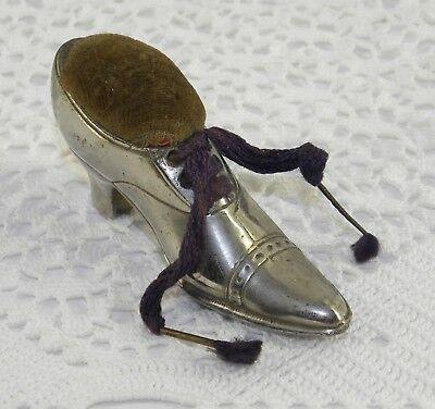 ANTIQUE Figural Novelty SHOE SEWING PIN CUSHION with ORIGINAL LACES 3.75 Inches
