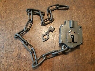 Vintage Railway Carriage Chain Padlock With Key
