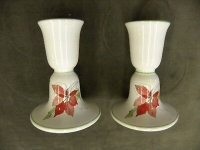 Block Spal POINSETTIA CANDLE HOLDERS Watercolors Portugal Holiday China (BSE)