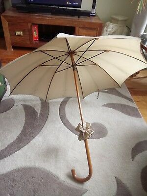 Antique Victorian cotton (?) Cane Wood and metal carriage Parasol Umbrella 19C