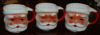 Vintage 1950's Set Of 3 Santa Face Mugs Each DIfferent All Have Stickers Japan