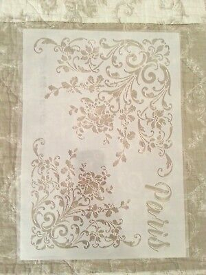 1 Schablone Floral Paris Lablanche  Mixed Media Scrapbooking Vintage Wand