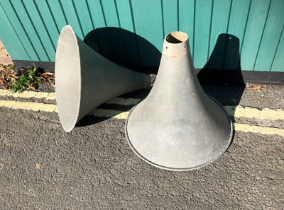 Pair of Large Vintage Aluminium Tannoy Speaker Horns PA Radio Cones