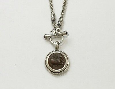 Sterling Silver Toggle Necklace, Garnets,Genuine Ancient Coin, Greek w/Cert.-088