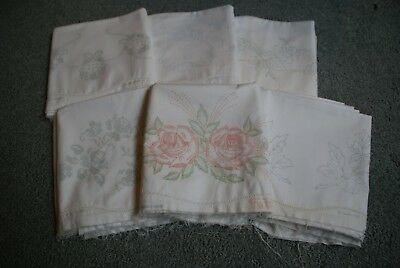 VINTAGE Stamped to Embroider Pillowcase tubing - Lot of 12 - flowers, etc.