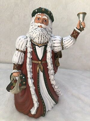 """1995 Porcelain Collectible Old World Santa Claus with Bell Christmas 10"""""""