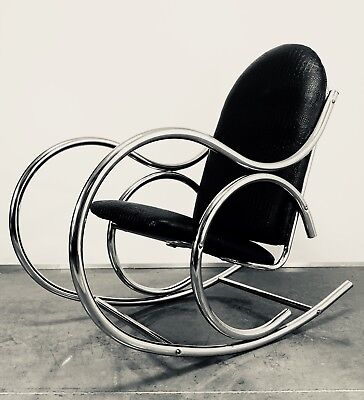 info for 739d9 43bc1 MID CENTURY MODERN Rocking Chair Thonet Style Chrome Milo Baughman Bentwood