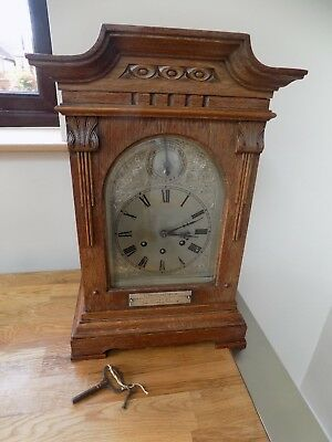 ANTIQUE pre1915 LARGE OAK MANTEL CLOCK GUSTAV BECKER- MEDAILLE D'OR- SILVER FACE