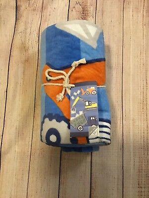 Pottery Barn Kids PBK Blue Striped Construction Print Beach Towel 32 X 64 NWT