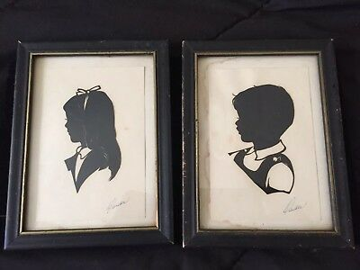 Antique Pair of Signed Framed Silhouette Portrait Pictures Brother & Sister