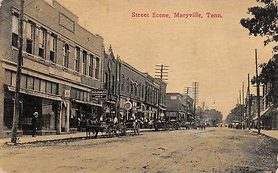 Street Scene, Buggies Signs Stores Watch, Maryville TN, Divided Back Postcard