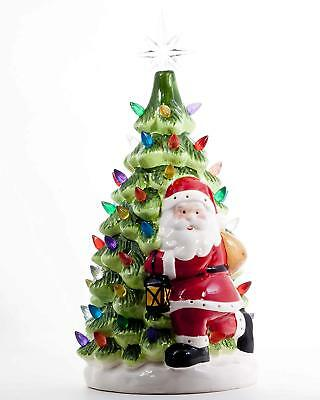 """ReLive Christmas is Forever 14.5"""" Lighted Tabletop Ceramic Green Tree w/ Santa"""