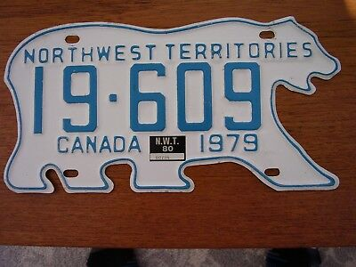 1979 Polar Bear License Plate Northwest Territories Canada NWT 19-609 + tag 1980