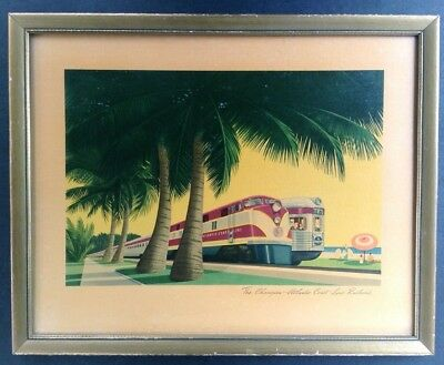 Vintage Atlantic Coast Line Railroad Framed Color Print Poster 1942 Champion