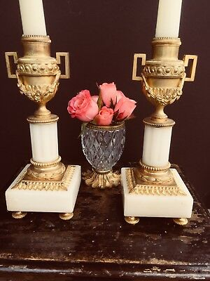 Antique French Empire Dore Bronze Marble Candlesticks