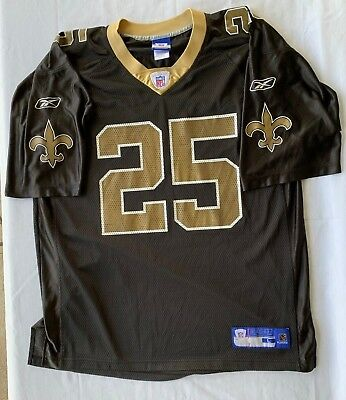 REEBOK REGGIE BUSH  25 New Orleans Saints Black Nfl Jersey Men Large ... 438e08167