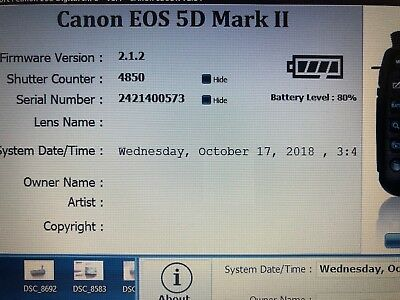 Excellent Canon EOS 5D Mark II Shutter Count 4845