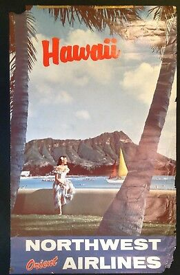 Vintage Northwest Orient Airlines Hawaii Advertising Poster 1960's 1970's
