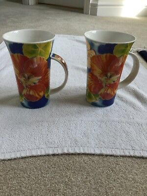 "Dunoon Mugs Large X 2 "" Festival"" By Lyn Strachan Excellent Condition"