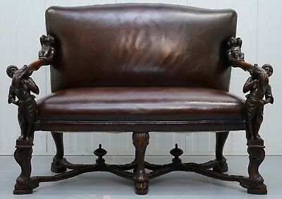 1850 Palatial Venetian Carved Walnut Leather Bench Valentino Panciera Besarel