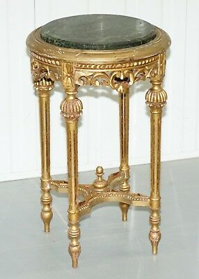 Lovely Green Marble Topped Giltwood French Rococo Stand Plants Busts Sculptures