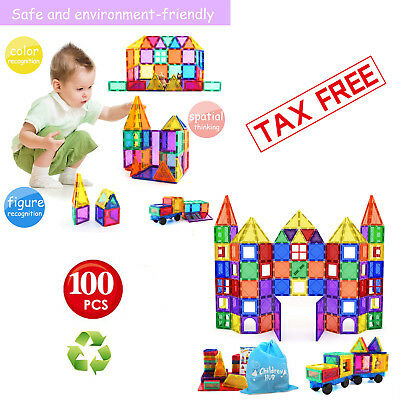 Magnetic Building Blocks 100 Pc 3D Set Tiles Educational Kids Toys Children Gift