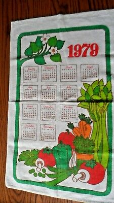 Vintage Calendar Tea Towel 1979 Bright Colors Vegetables Green Red Orange