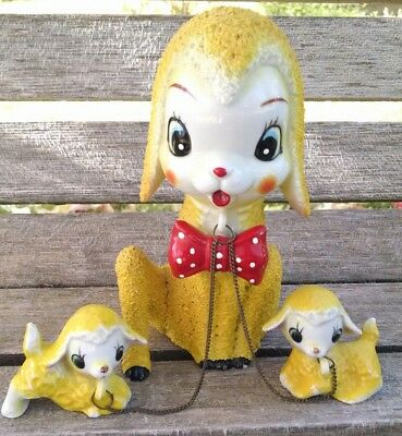 Vintage Arnart Japan Anthropomorphic Sugar Texture Yellow Mom & Baby Lambs Sheep