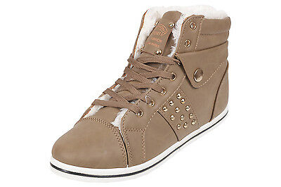 2d79eb43fd31 Womens Ladies Lace Up Fur Lined Winter Hi Ankle Warm Boots High Top Trainers
