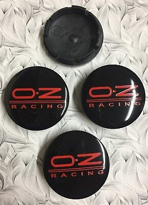 4x OZ Wheel Centre Cap Black / Red 56mm Set Of 4 Hub Caps 3D Logo Decal Badge UK