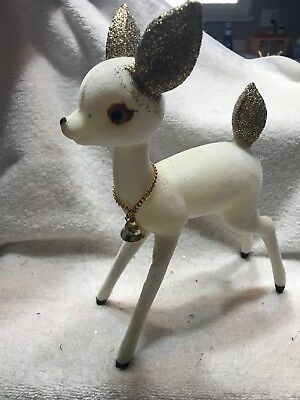 Large Vintage White Flocked/Glitter Christmas Reindeer Japan 51Y