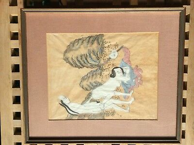 Chinese Shunga PAINTING on rice paper mid to late 19th Century