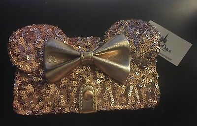 NEW Disney Parks Minnie Mouse Rose Gold Loungefly Wallet Iphone Case 8 7 6s