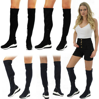 Womens Ladies Low Wedge Sports High Thigh Lycra Stretchy Trainers Sneakers Boots