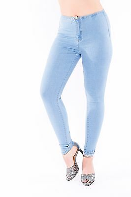 *Huge Sale* Ladies High Waisted Skinny Fit Tube Jeans Womens Stretch Blue Denim