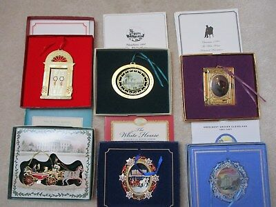 Lot of 6 White House Historical Association Christmas Ornaments 1987-2009 w/box
