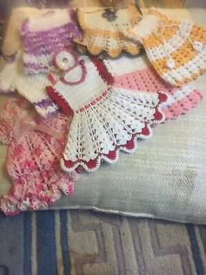 Estate Lot Vintage Craft Cutters Crocheted Doilies Doll Clothes Dress Linens