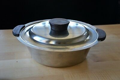 vintage Mid-Century Modern Stainless steel covered serving dish