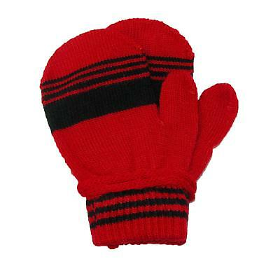 New CTM Toddlers Striped Stretch Mittens on a String