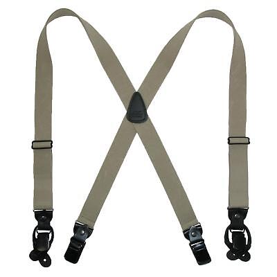 New CTM Men's Elastic Suspender with Leather Convertible Clip & Button Ends