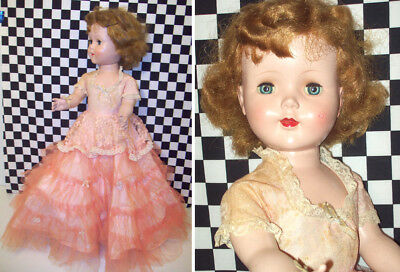 """24"""" Hard Plastic Walker Sweet Sue All Original Doll Stains on Clothes Good UsedC"""