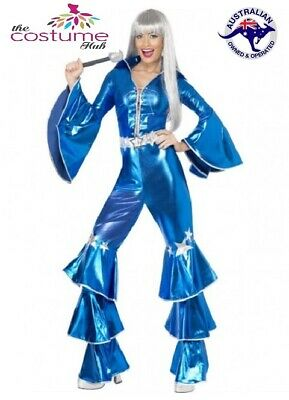 70s Costume Disco Dancing Queen Blue 1970s Jumpsuit Fancy Dress ABBA
